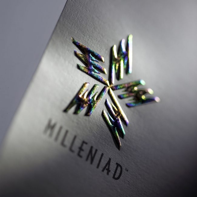 Milleniad: Logo, visual identity system and product labelling for brand licensing initiative