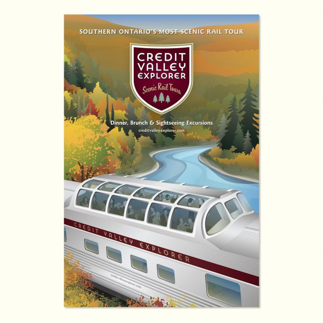 Credit Valley Explorer: Marketing poster introducing dome car service