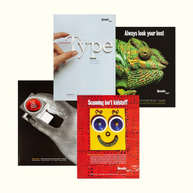Moveable: Legacy print ads promoting typographic and prepress services
